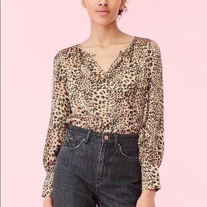 Rebecca Taylor leopard sheer blouse size 8